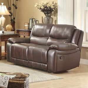 Allenwood Leather Reclining Loveseat by Home..