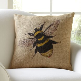 Serafina Bumblebee Burlap Throw Pillow