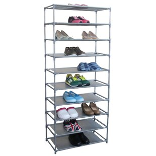 Online Reviews 10 Tier 30 Pair Non Woven Fabric Shoe Shelf Rack By Rebrilliant