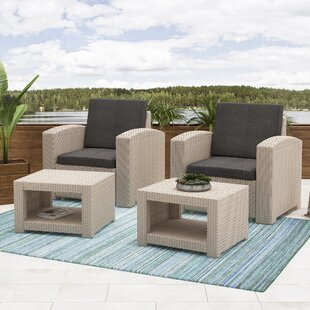 Guillen Patio 4 Piece Conversation Set With Cushions by Wrought Studio Savings