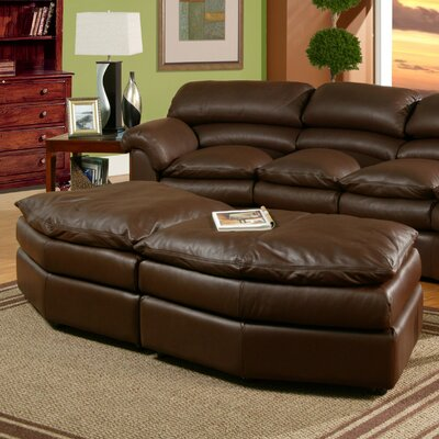Canyon Leather Conversation Ottoman Omnia Leather Body Fabric: Guanaco Sangria, Seat Cushion Fill: Standard Cushion Fill
