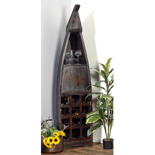 Wood Boat 12 Bottle Floor Wine Bottle Rac..