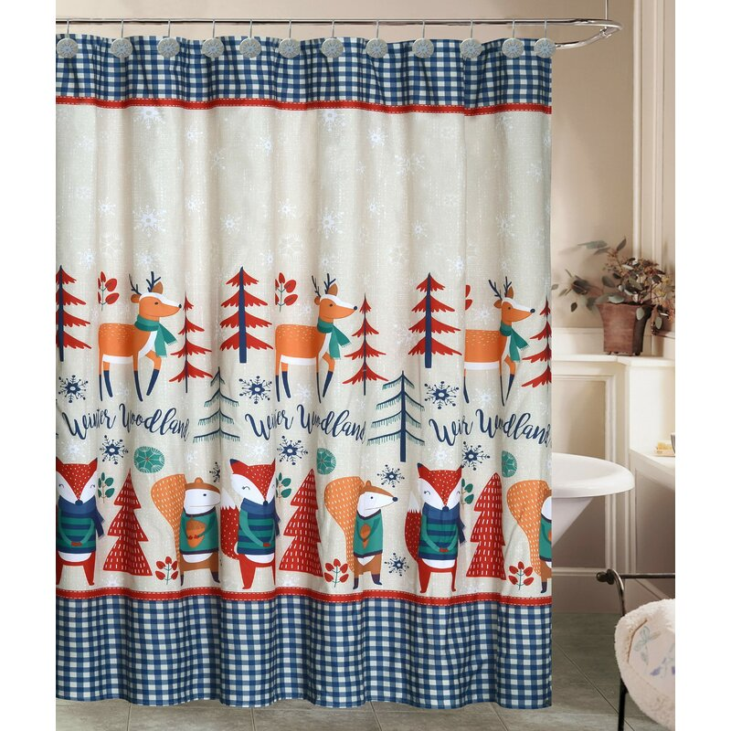 Jolly Holidays Forest Friends Fabric Shower Curtain Set