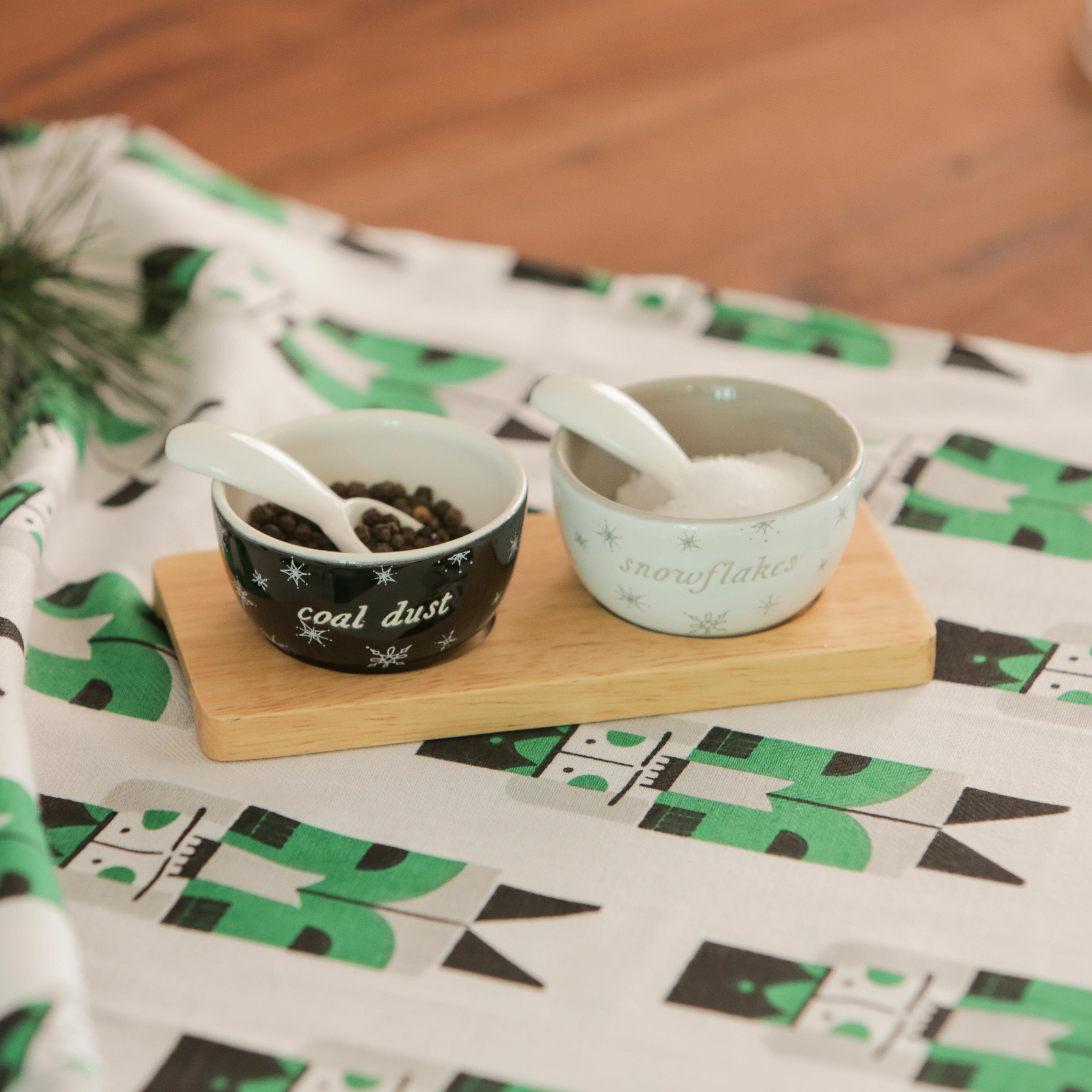 Floor 9 Snowflakes And Coal Dust Ceramic 2 Piece Salt Pepper Set Wayfair