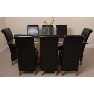 Ediz   Oak Dining Set With 8 Chairs By Ebern Designs