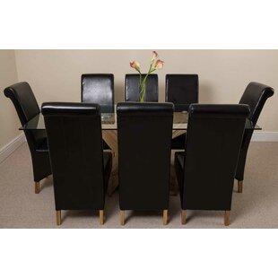 Ediz Oak Dining Set With 8 Chairs By Ebern Designs