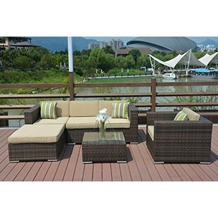 Rios 6 Piece Rattan Sectional Set with Cushions