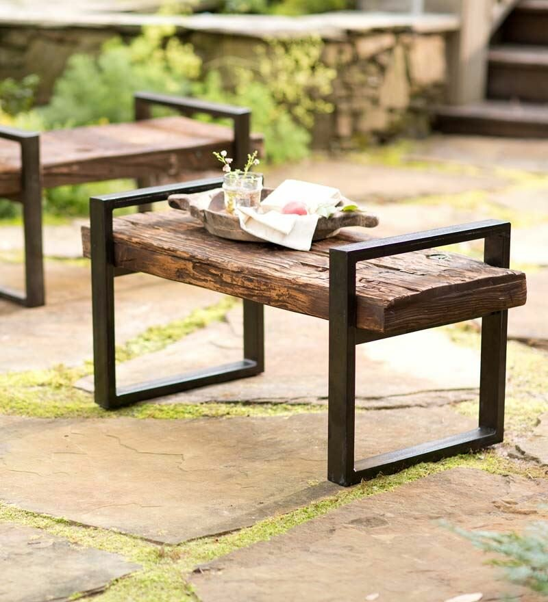 Plow Hearth Reclaimed Wood And Iron Outdoor Garden Bench Reviews