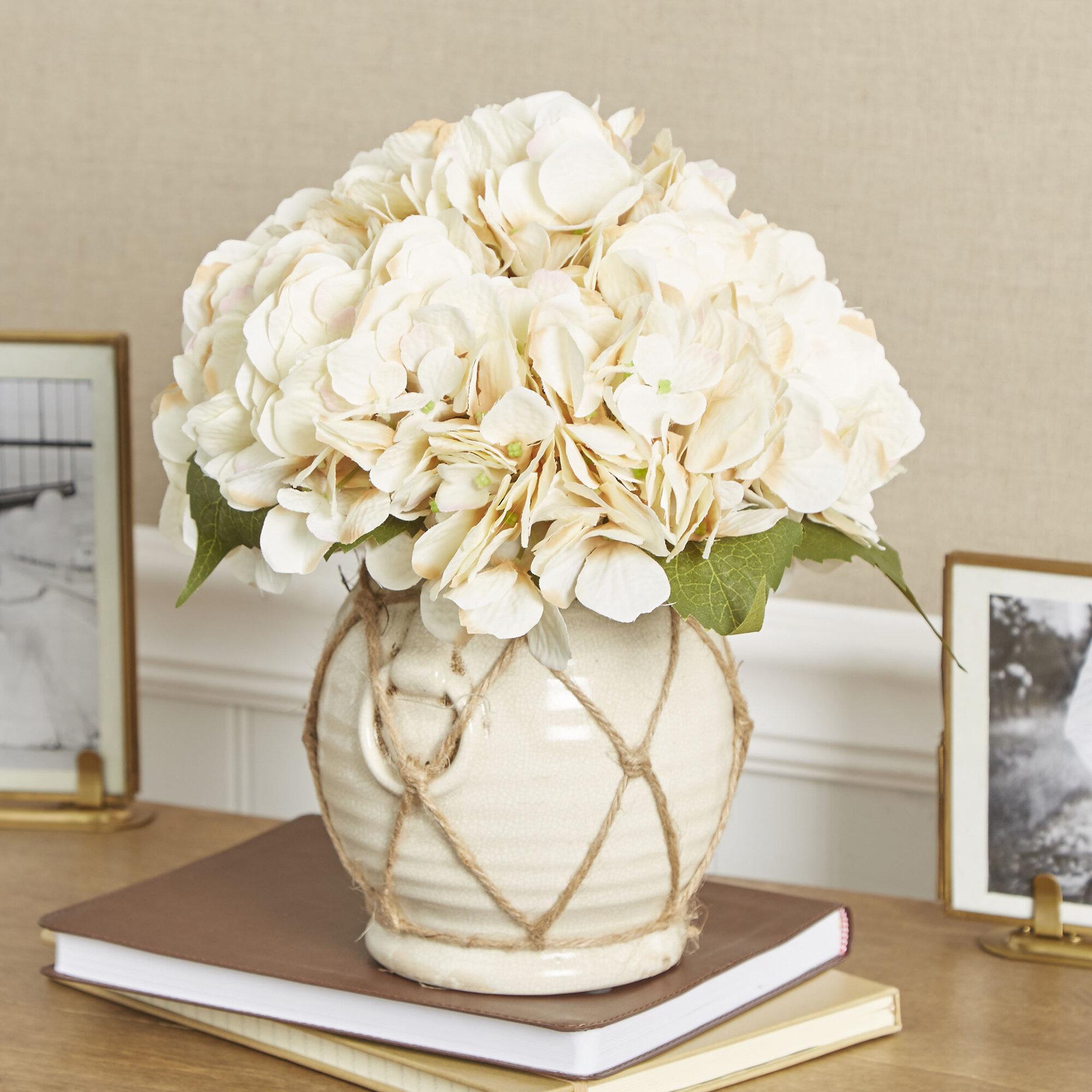 Charlton Home Faux Hydrangea Floral Arrangement In Twine Wrapped Vase Reviews Wayfair Ca