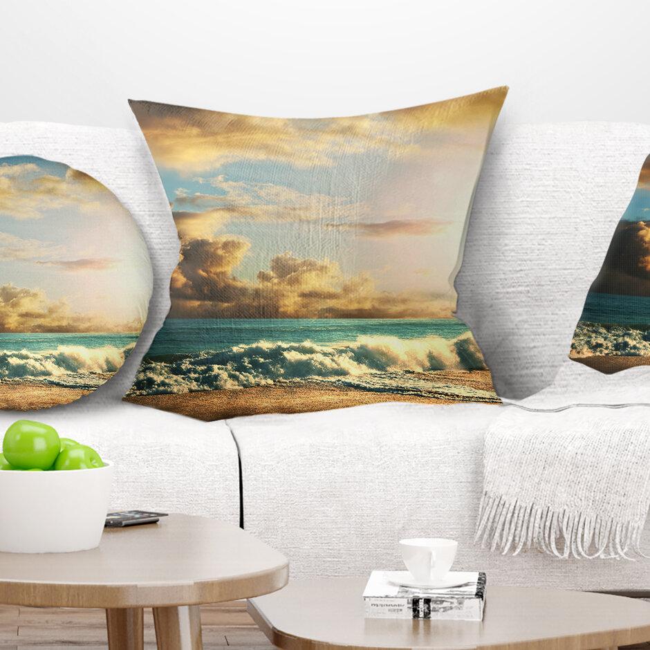 East Urban Home Green Sea Beach Under Cloudy Sky Pillow Wayfair