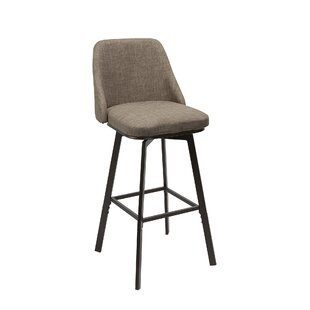 Bales Upholstered Curved Back Adjustable Height Swivel Bar Stool Winston Porter