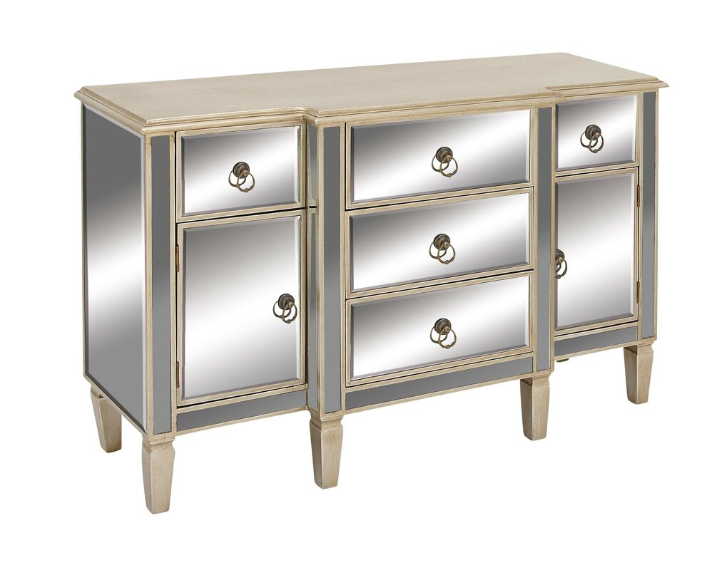 Cole Grey 2 Door 5 Drawer Wood Mirror Accent Cabinet Reviews