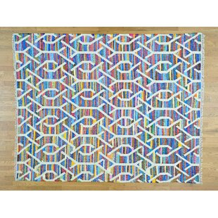 Order One-of-a-Kind Jamarion Handmade Kilim 8' x 10' Wool Blue/White Area Rug By Isabelline