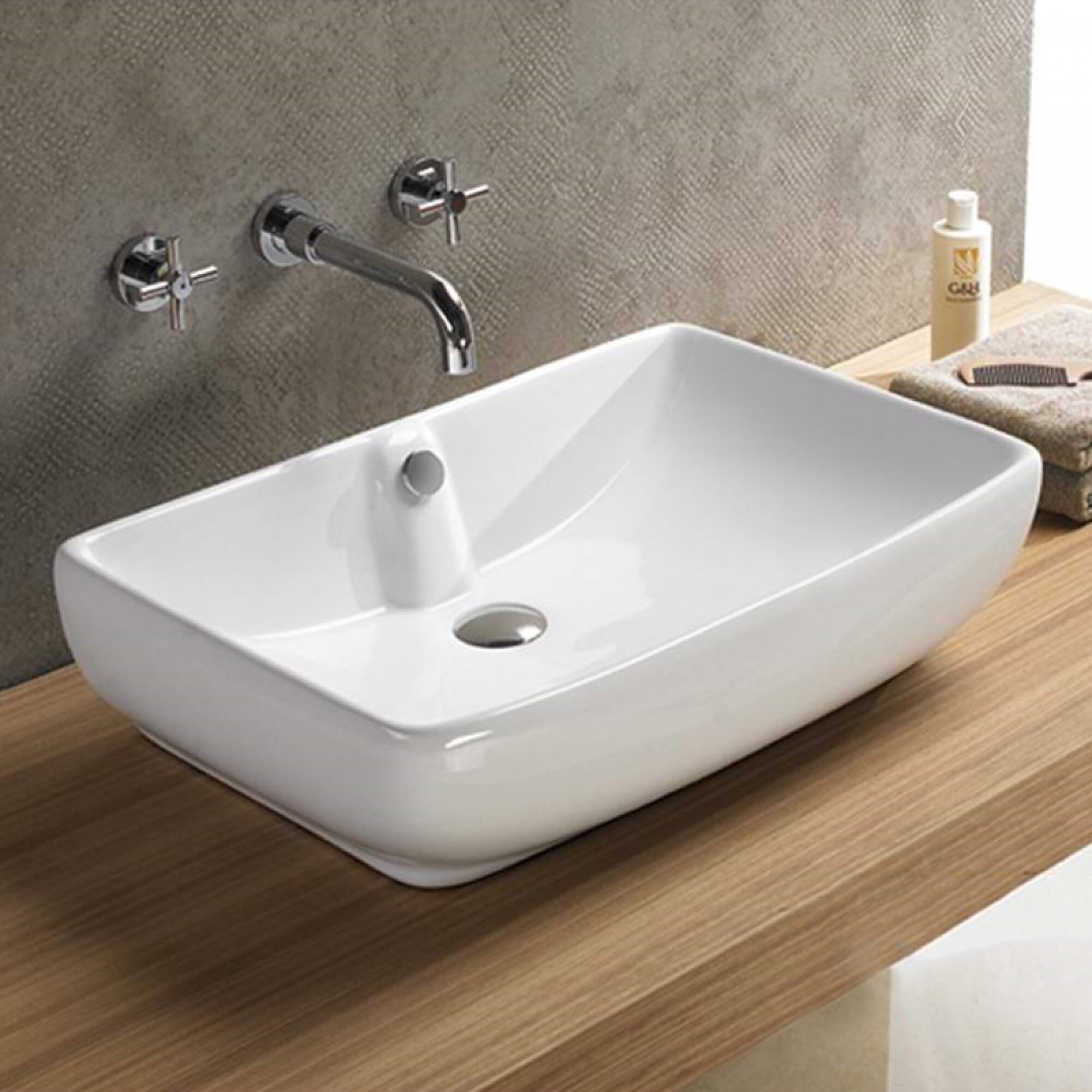 American Imaginations Above Counter For Drilling Ceramic Rectangular Vessel Bathroom Sink With Overflow Wayfair