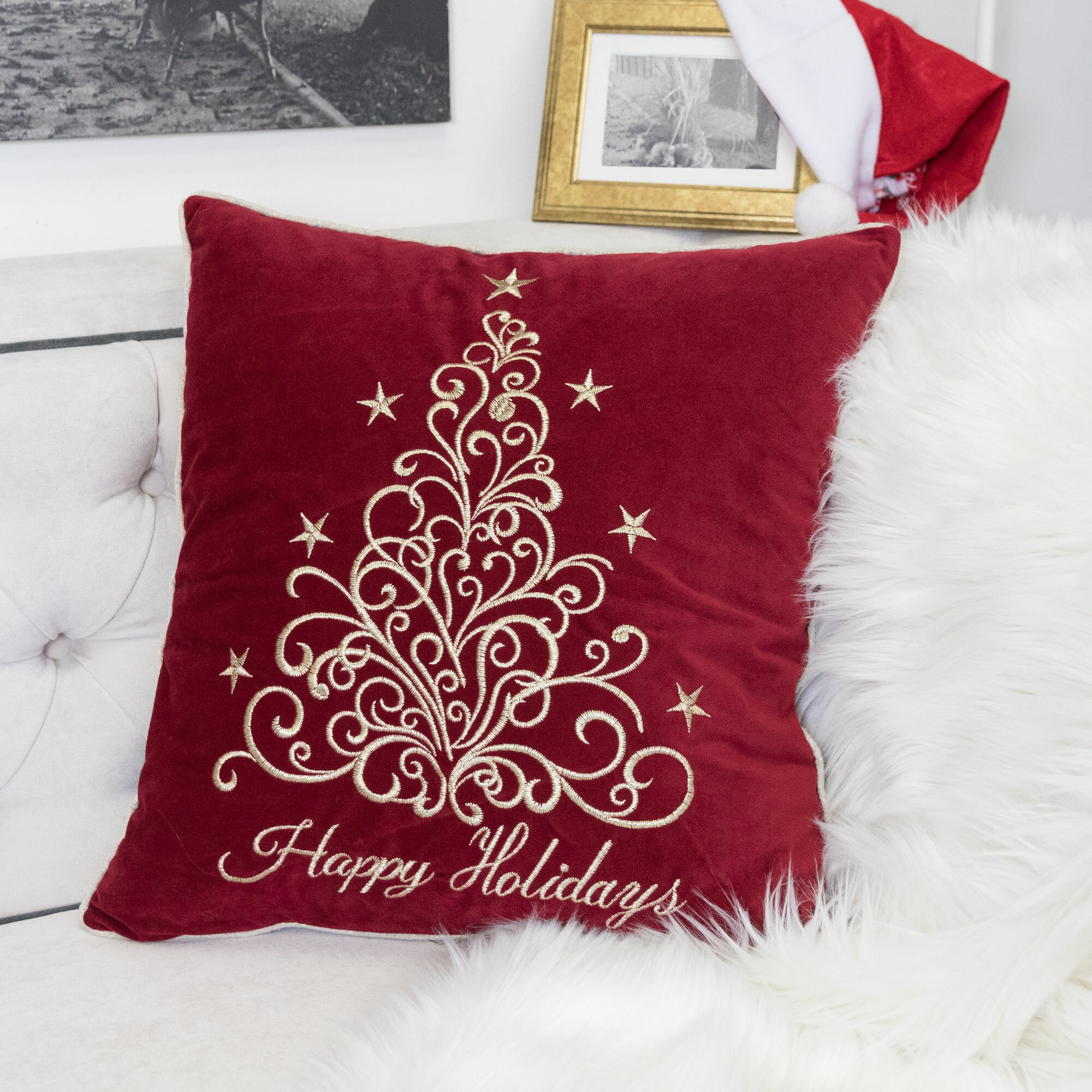 The Holiday Aisle Holidays Fancy Embroidered Velvet Throw Pillow Reviews Wayfair