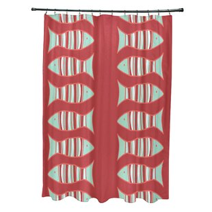 Cedarville Polyester Fishy Coastal Shower Curtain