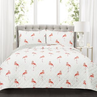 Morgane Flamingo Cotton 3 Piece Reversible Quilt Set by Turn on the Brights No Copoun
