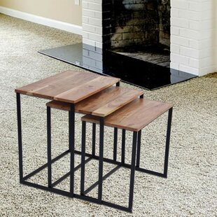 Reviews Auden Classic Iron and Wood 3 Piece Nesting Tables By Gracie Oaks