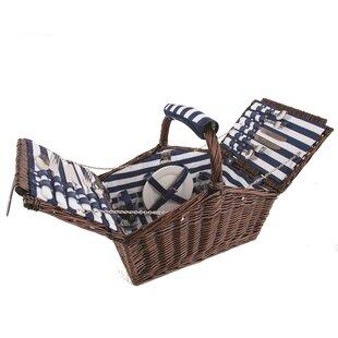 Coastal 4 Person Picnic Basket Set By Summerhouse