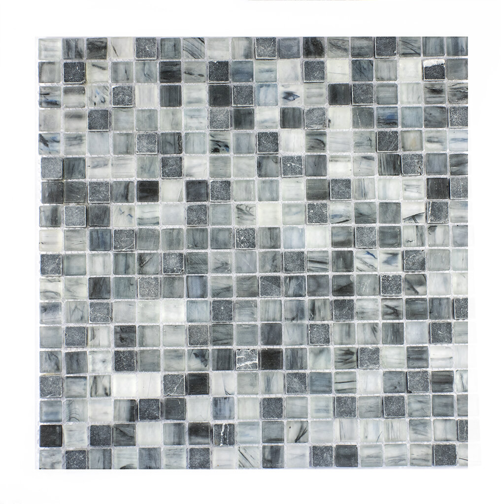 Melay Glass Piazza 05 X 05 Glass Mosaic Tile In Dark Bluegray
