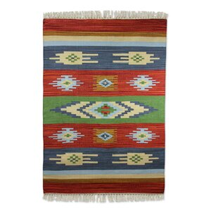 Hand Woven Red/Blue/Brown Area Rug