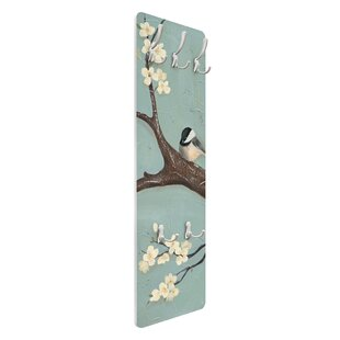 Blue Tit On Cherry Tree Wall Mounted Coat Rack By Symple Stuff