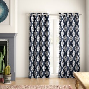 Kassie Damask Blackout Thermal Grommet Curtain Panels (Set Of 2) by Mistana