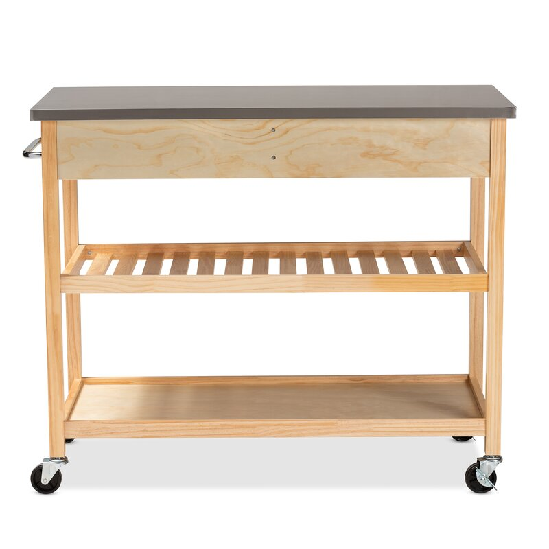 Doucette Wood 2 Drawer Utility Storage Kitchen Island Stainless Steel