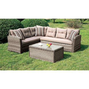 Linquist Patio Sectional with Cushions by Rosecliff Heights
