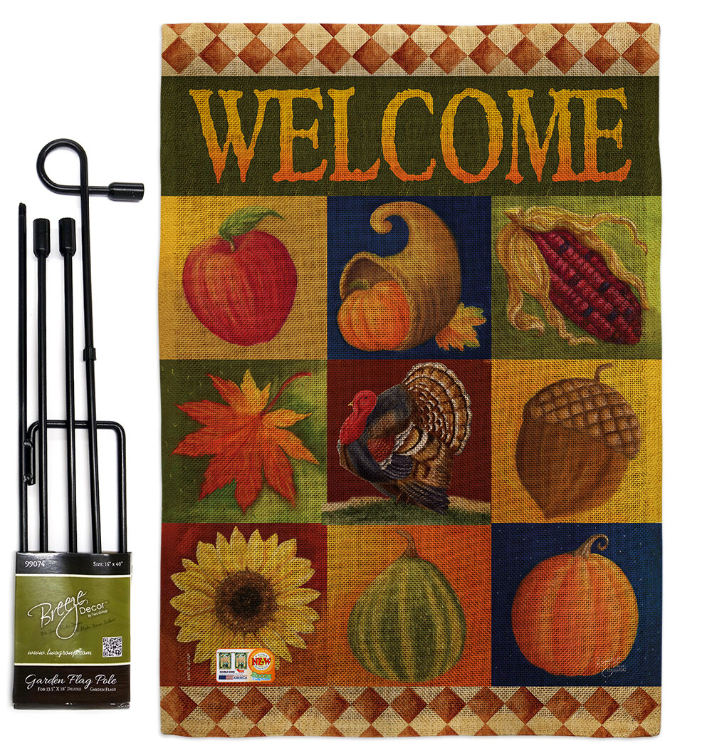 Breeze Decor Autumn Collage Fall Harvest And Impressions 2 Sided Burlap 19 X 13 In Flag Set Wayfair