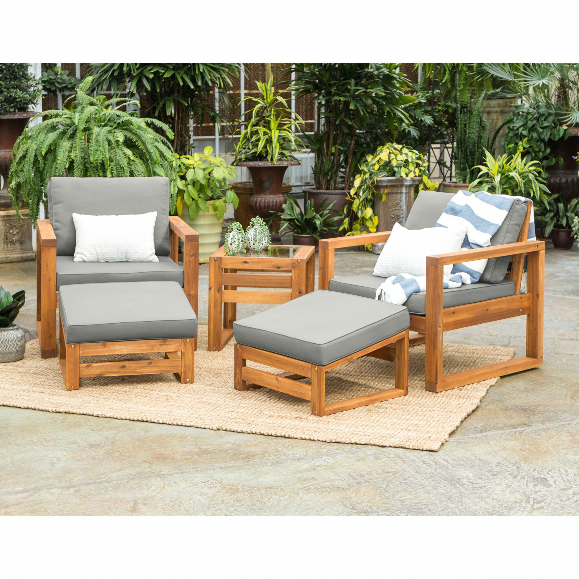 Union Rustic Nettie 5 Piece Modern Patio Chat Set Reviews Wayfair