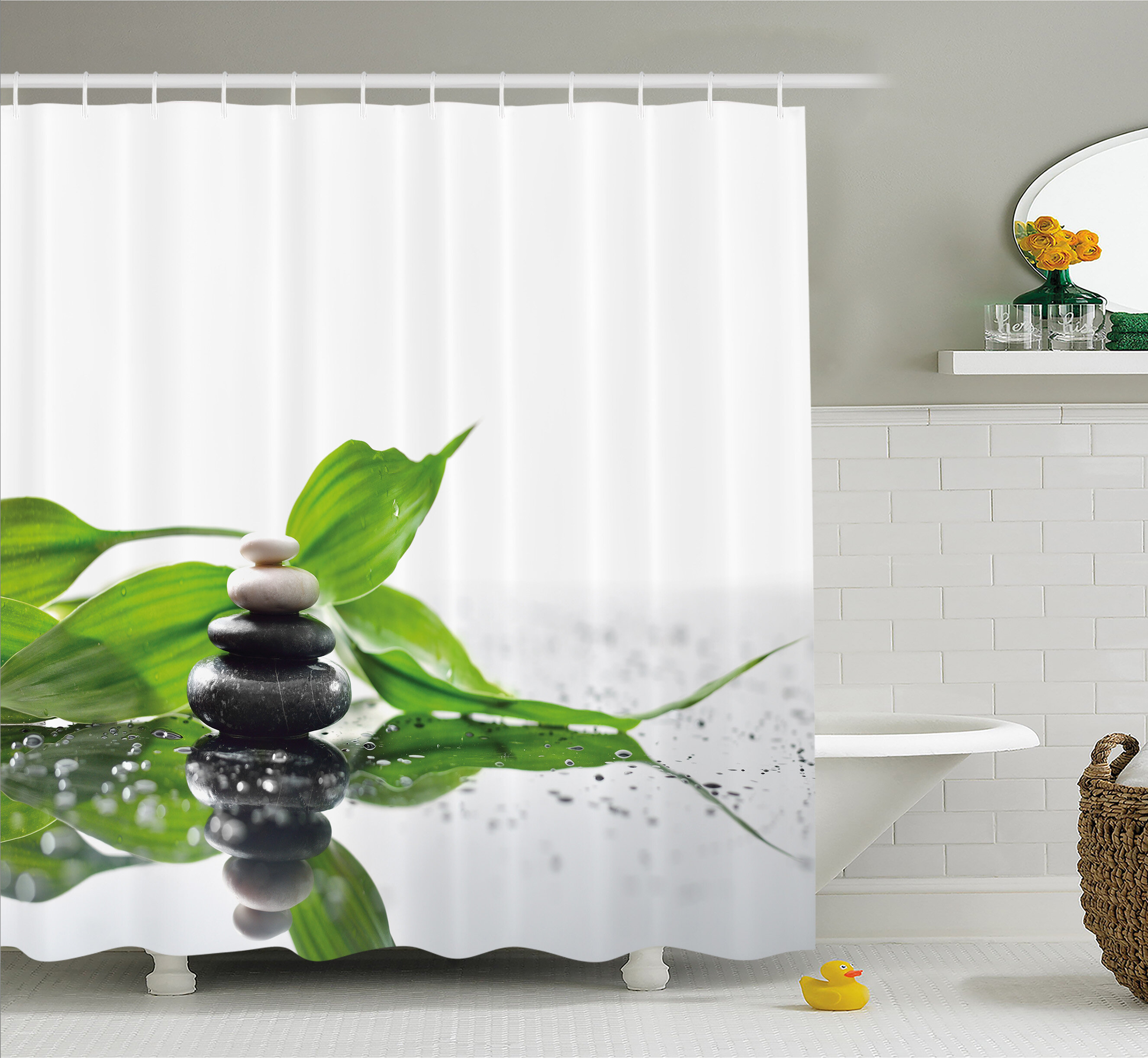 Ambesonne Spa Raindrops On The Leaves Side Hot Massage Stones Shower Curtain Set Reviews