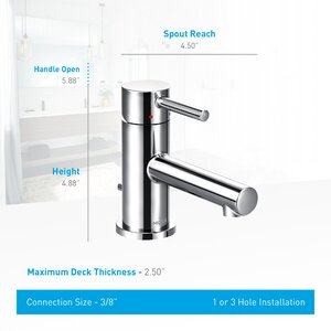 Align Standard Single Handle Single Hole Bathroom Faucet with Drain