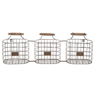 Wire Hanging Triple Organizer With Wall Baskets
