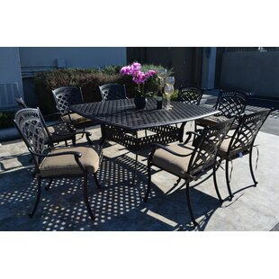 Fleur De Lis Living Wildermuth 9 Piece Dining Set with Cushions