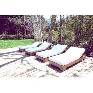 Jess Reclining Teak Chaise Lounge with Cushion