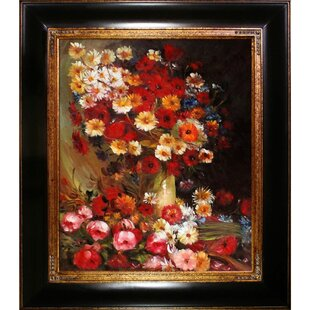 'Vase with Poppies Cornflowers Peonies and Chrysanthemums' by Vincent Van Gogh Framed Painting by Astoria Grand