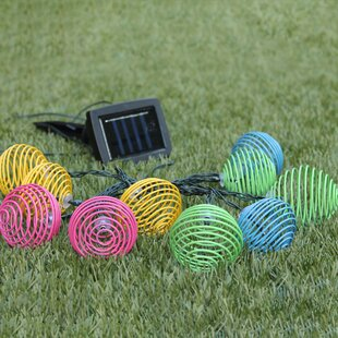 10 Light LED Solar Powered Spiral Latern String Light By Sol 72 Outdoor