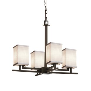 Latitude Run Red Hook 4 Light LED Square w/ Flat Rim Chain Chandelier