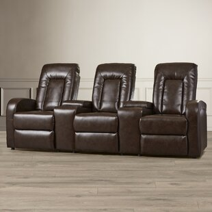 Leather Home Theater Group Seating Row of 3