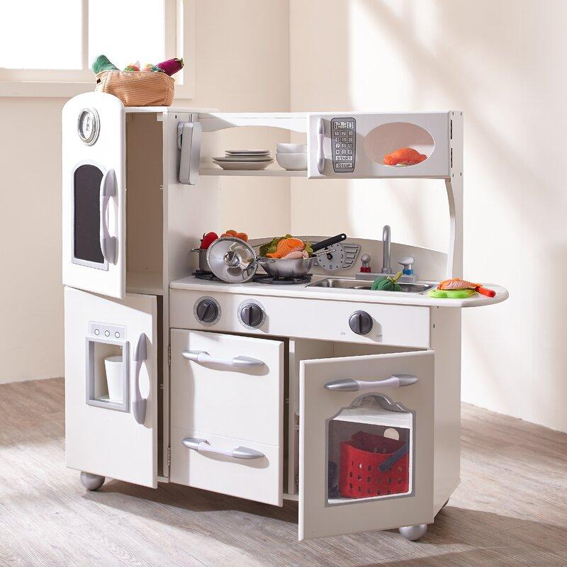 Play Kitchen Set teamson kids wooden play kitchen set & reviews | wayfair