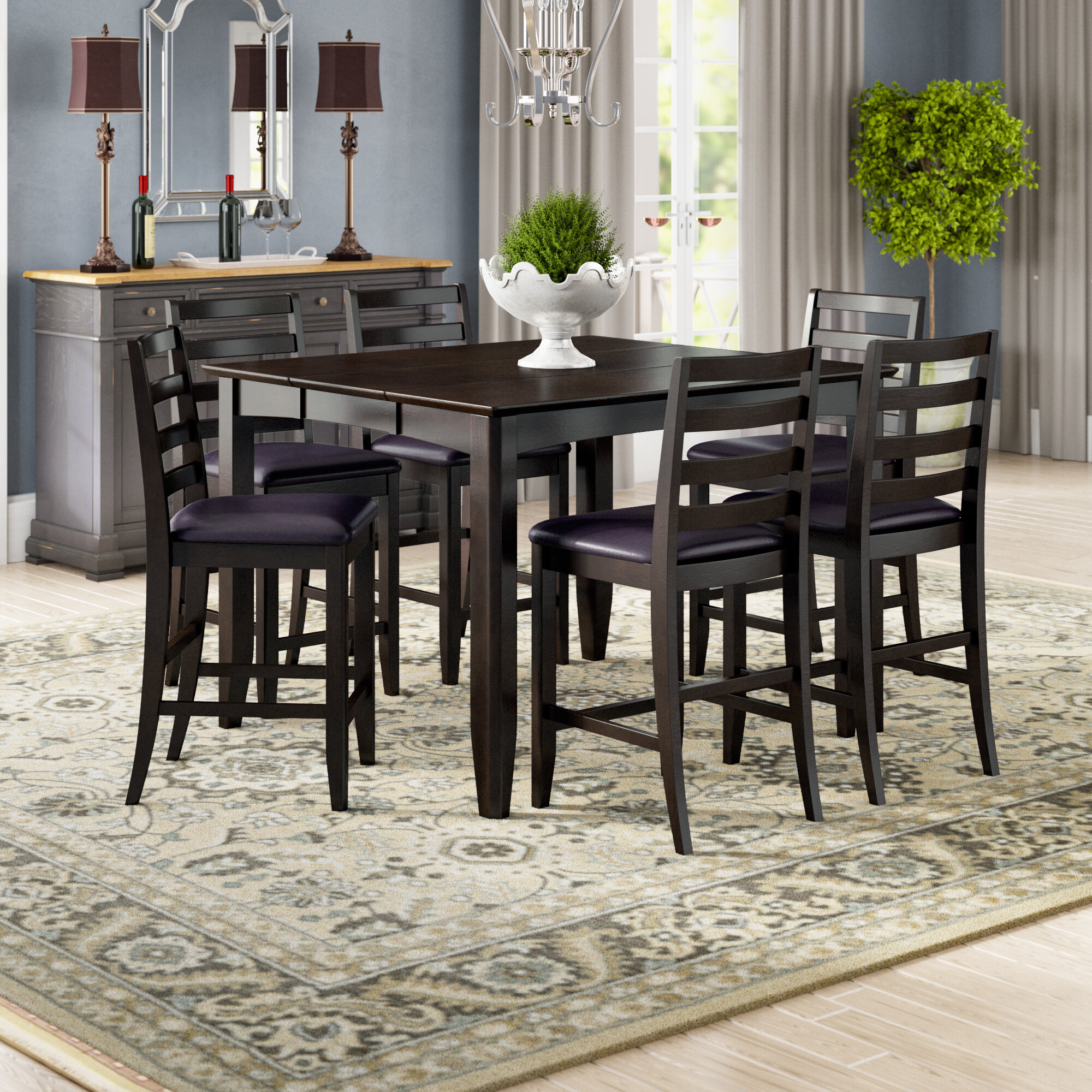 Charmant Krull 7 Piece Counter Height Dining Set