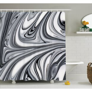 Mix of Hallucinatory Surreal Liquid Marble Figures Graphic Image Shower Curtain Set