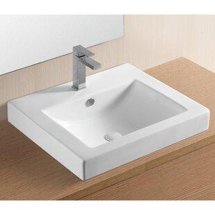 Caracalla Ceramica II Ceramic Rectangular Drop-In Bathroom Sink with Overflow