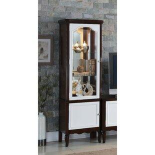 Alcott Hill Coffey Single Glass Door Wooden Curio Cabinet