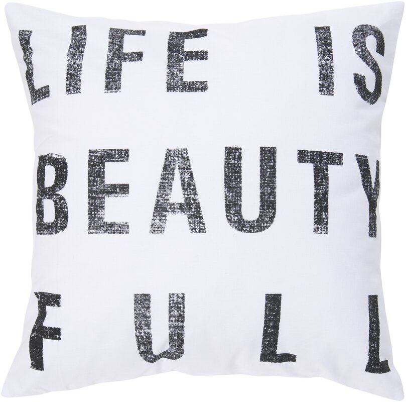 Eneida Life Is Beauty Throw Pillow