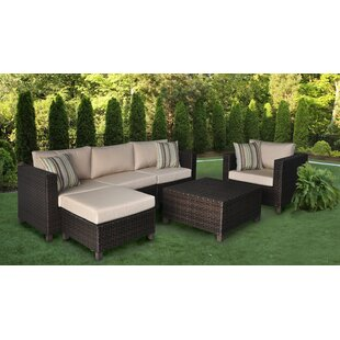 Bordner 5 Pieces Rattan Sectional Seating Group with Sunbrella Cushions