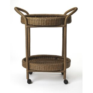 Chet Rattan Bar Cart by Highland Dunes