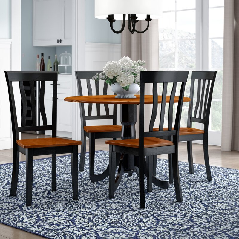 Silver Dining Table And Chairs, Charlton Home Slavens 5 Piece Drop Leaf Solid Wood Dining Set Reviews Wayfair