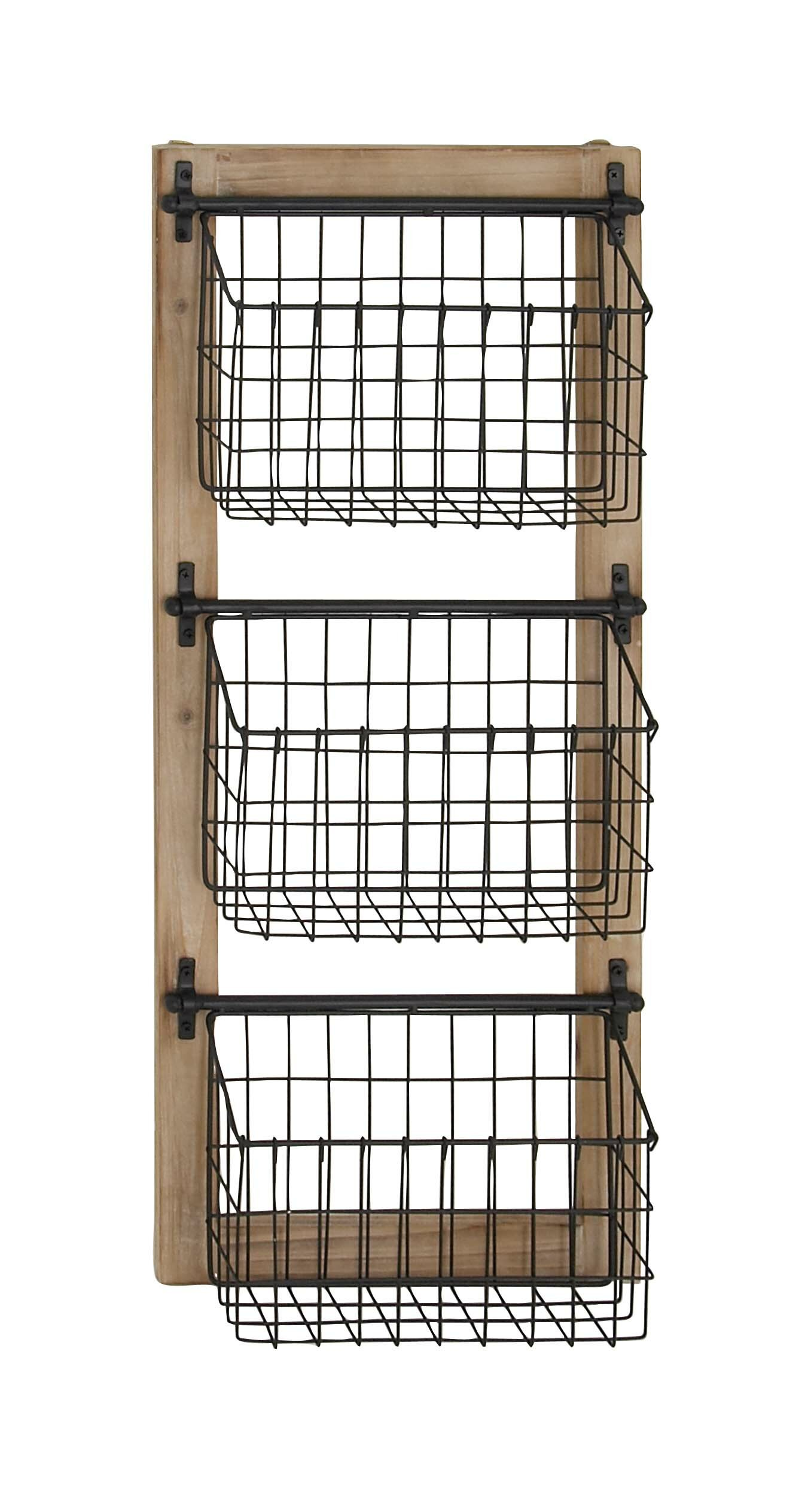 Gracie Oaks Harvin 34 H X 14 W X 4 D Industrial 3 Tier Basket Wall Rack Reviews Wayfair